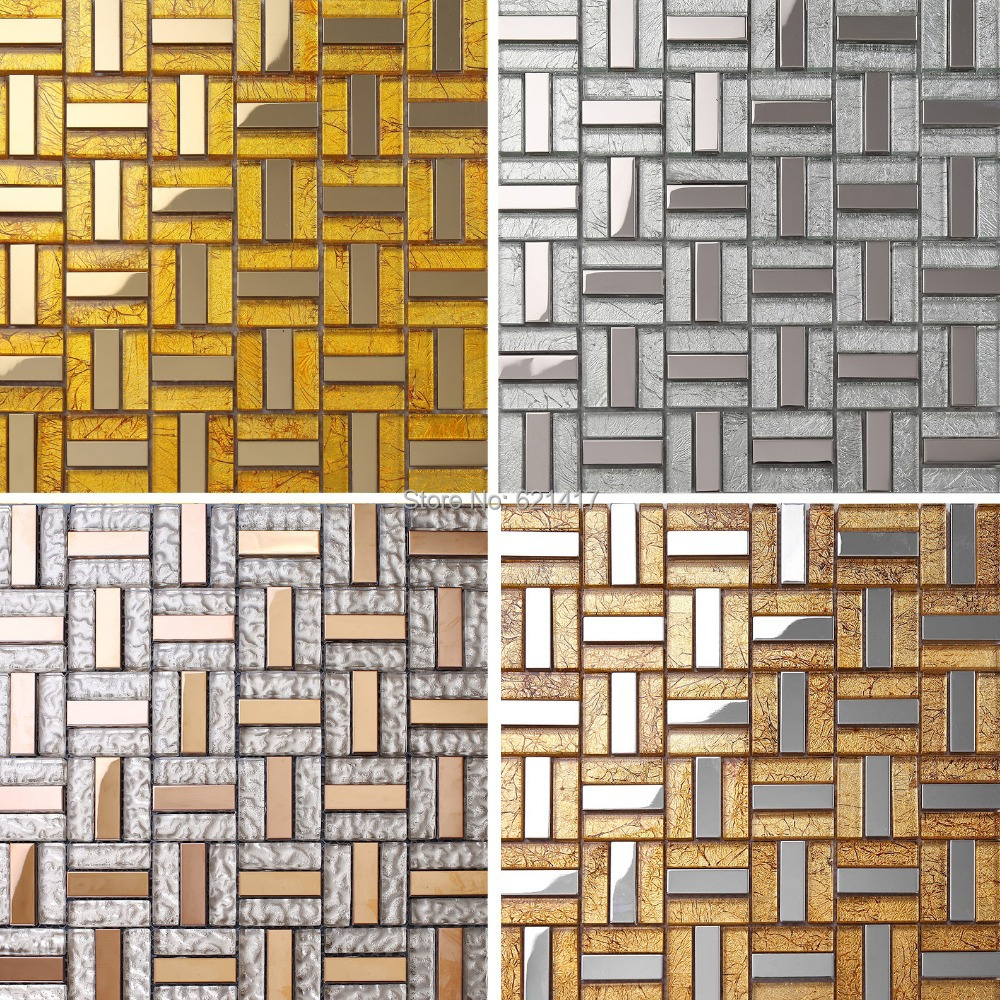 stainless steel crystal glass mosaic tiles backsplash HMGM1073 kitchen wall tile sticker bathroom floor tiles<br>