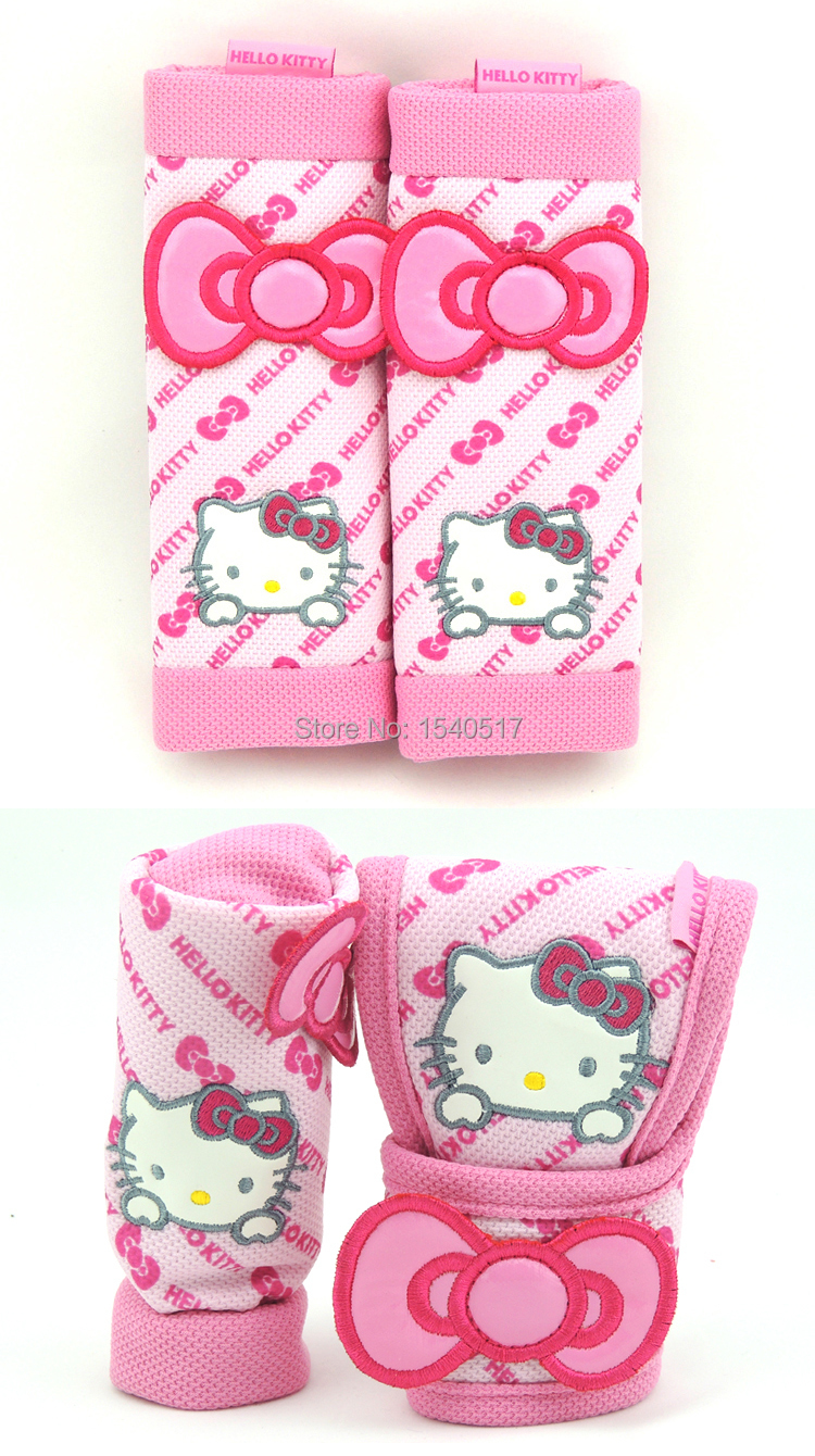 Auto Interior Accessories handbrake grips,gear cover,Seat Belts padding Hello kitty four seasons Synthetic fiber girl Car covers(China (Mainland))