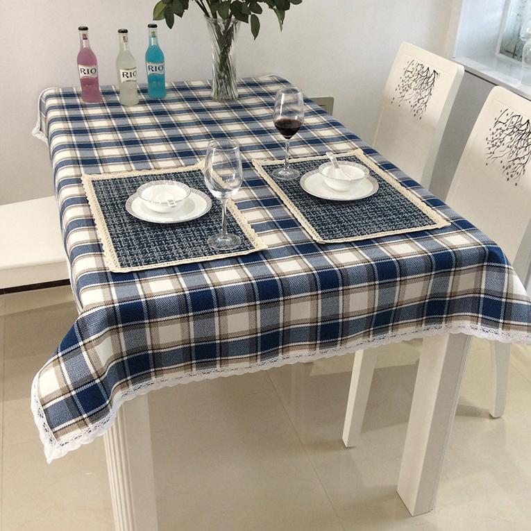 High Quality Mediterranean Blue Plaid Tablecloth, Linen Tablecloth, Fresh Tea Tablecloths Linen Embroidery Table Cloth(China (Mainland))