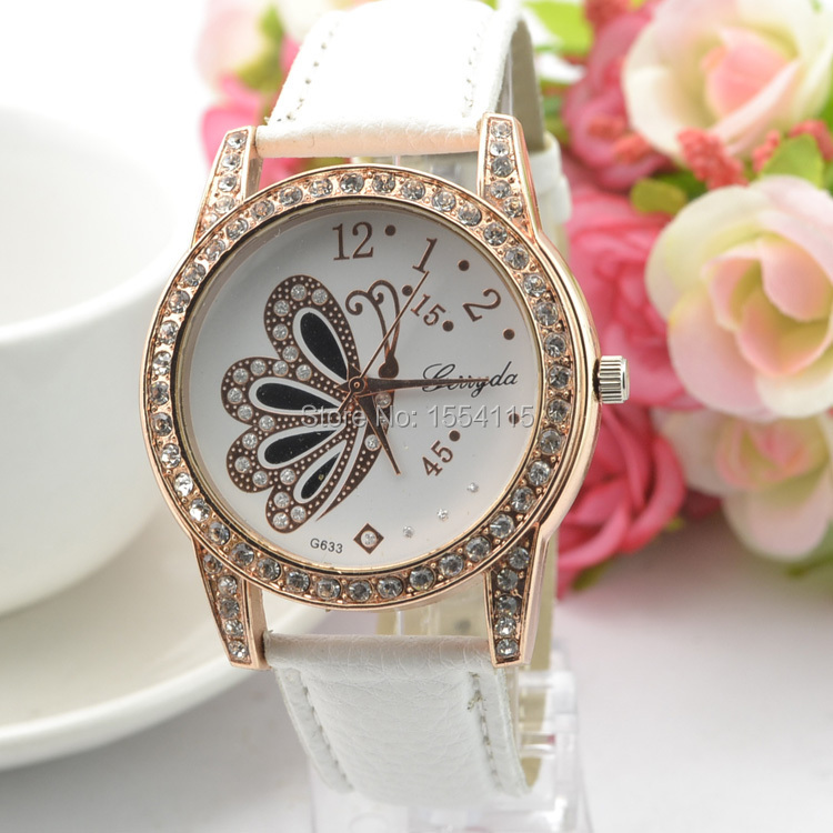 High Quality Luxury Diamond Women leather Watch Crystal Butterfly Lady's Dress Watch Christmas Gift Watches Wholesale(China (Mainland))