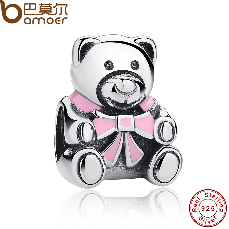 Authentic 925 Sterling Silver It's A Girl Teddy Bear, Pink Enamel Charm fit original Bracelets Jewelry Accessories PAS219(China (Mainland))