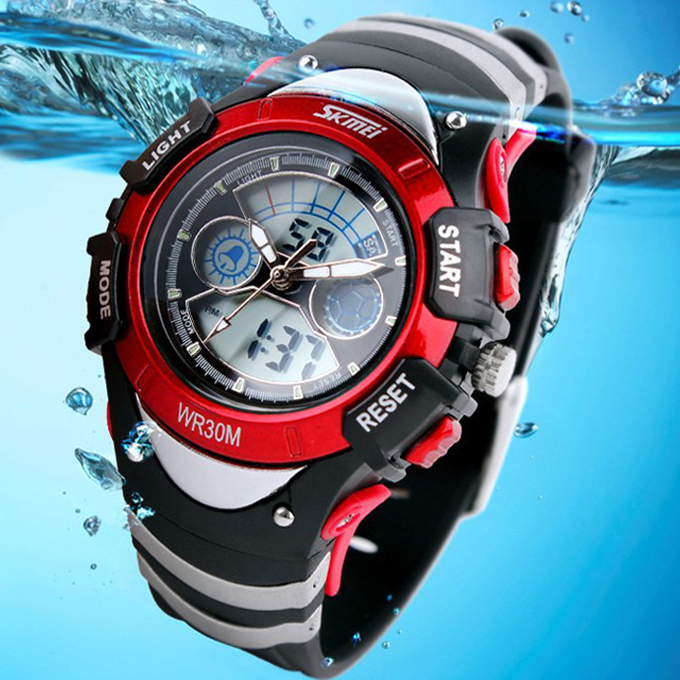 Children Watches Dual Time Multifunctional LED Digital Quartz 30m Waterproof Swim Kids Student Sports Watch 6COLORS(China (Mainland))