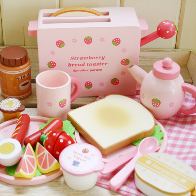 Free Shipping!Lovely Kids Mother Garden toast strawberry bread machine Pretend wooden toy Set Game Kitchen Toys Gift for Gril <br><br>Aliexpress