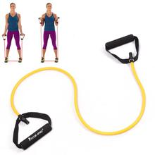 stretch resistance band tube yoga pilates fitness muscle exercise workout yellow for wholesale and free shipping