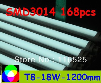 factory price 18W T8 LED Tube 1200mm Light 18W SMD3014 168pcs Warm White/Cool White 1800lm PC Cover Free shipping 25pcs