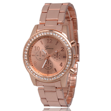 Rose del Rhinestone del oro del cuarzo mira los relojes marca de lujo caliente ginebra señora pulsera de acero inoxidable completa Relogio Feminino