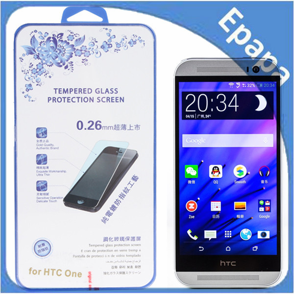 0.26mm Ultra Thin Sensitive Touch Premium Tempered Glass Screen Protector for HTC One M8(China (Mainland))