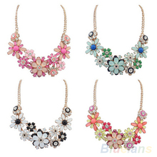 Women s Fashion Jewelry Flowers Bib Statement Necklace Chain Pendant 1QMA