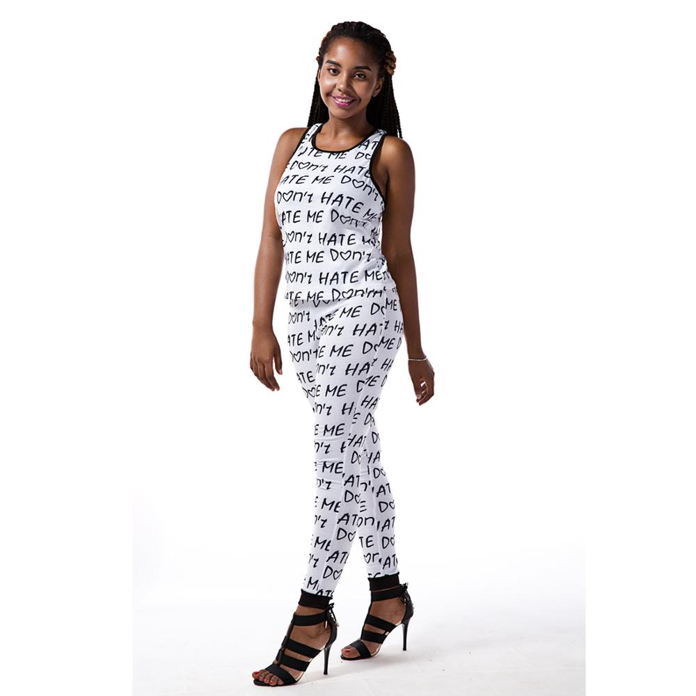 Letters printed sexy white jumpsuits big size two piece fitness jumpsuit sexy long overalls african women clothing D29-AC24-EZ(China (Mainland))