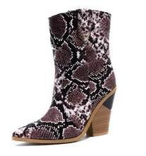 Şeker renk Yılan Derisi botas mujer Batı Botları Kovboy Çizmeleri kadınlar için pist tasarım Tıknaz Takozlar topuk Orta buzağı çizmeler 2019(China)