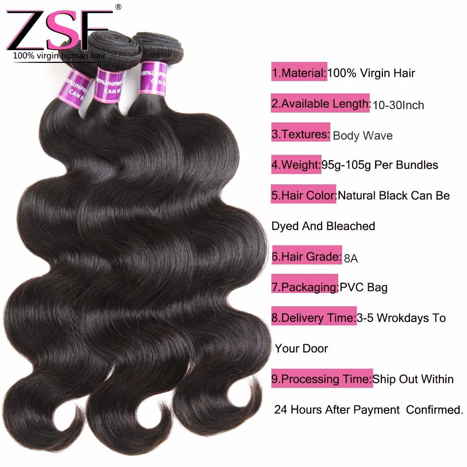 ZSF Hair 8A Body Wave With Closure 4 Bundles Peruvian Virgin Hair With Closure 10-30inch Pure Human Hair Peruvian Body Wave