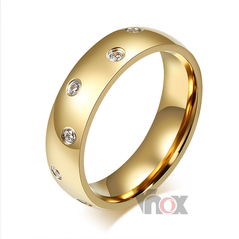 18K Gold Plated Women Wedding Rings Wholesale 6mm Wide Stainless Steel Rings For Women And Men
