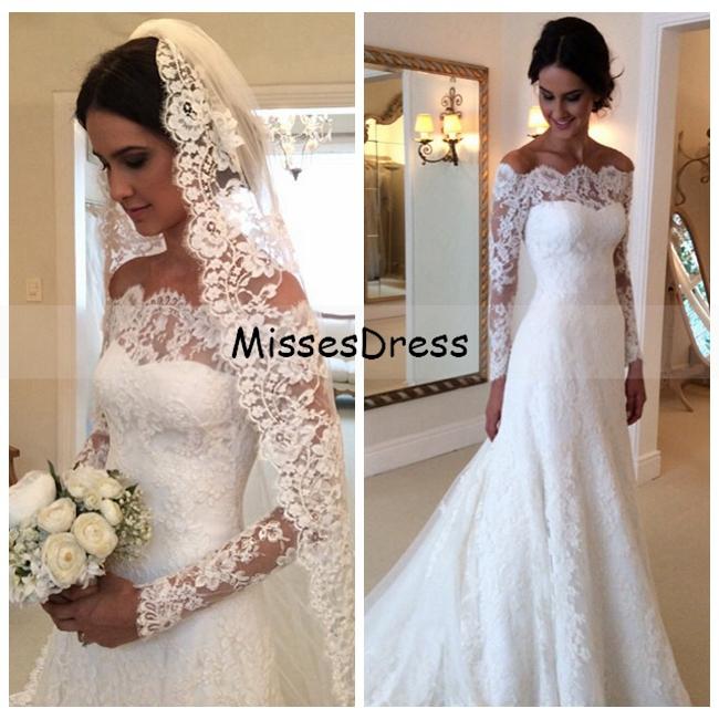 Aliexpress Buy Long Sleeve Wedding Dress 2015 Mermaid Boat Neck Applique Sheer Lace White