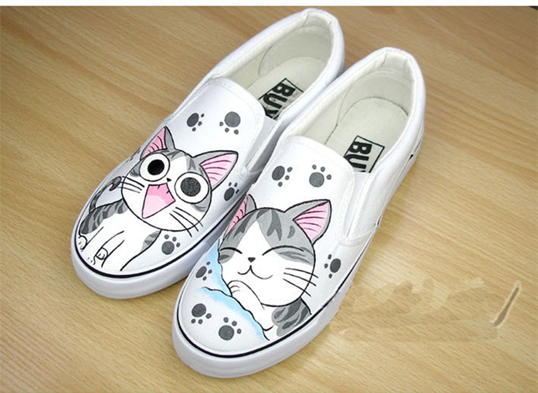 Hand Painted Fashion Platform Women/Men 2015 Spinrg Summer Dunk Low Slip-on Canvas Slippers Lovers/Couple Loafers(China (Mainland))