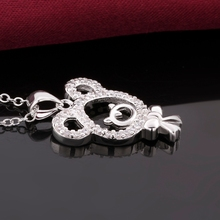 Fresh design bear cute pendant necklace sterling 925 silver necklace inlaid stones crystal jewlery promotion price