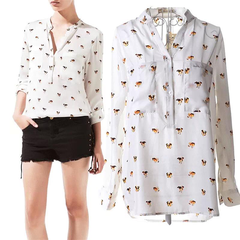 New 2015 Sexy Blusa Feminina Plus Size Chiffon Women Tops Shirt Printing Dog Long-sleeved Blouse Lady's Blouses Wholesale(China (Mainland))