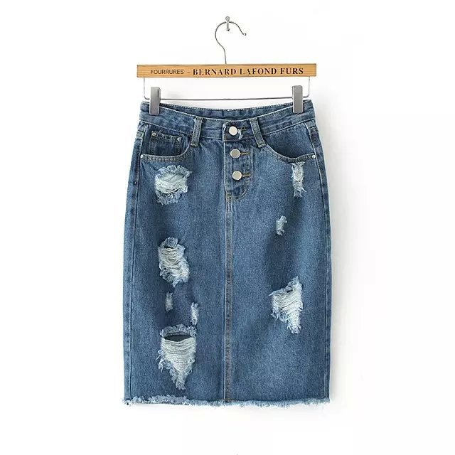 QQ10 Fashion 2015 women Blue denim Hole Ripped Pencil jeans Skirts casual Female ladies midi skirt saias feminina faldas jupe(China (Mainland))