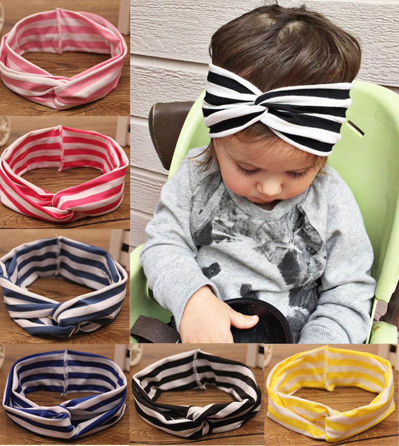 Retail Stretchy Top Knot Turban Headband Baby Knotted Head Wrap Girls Knit Cotton Headband(China (Mainland))