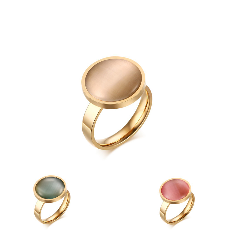 2016 New Fashion Opal Ring Women Stainless Steel Ring Gold Plated 3 Colors Female Ring Best Gifts For Lady(China (Mainland))