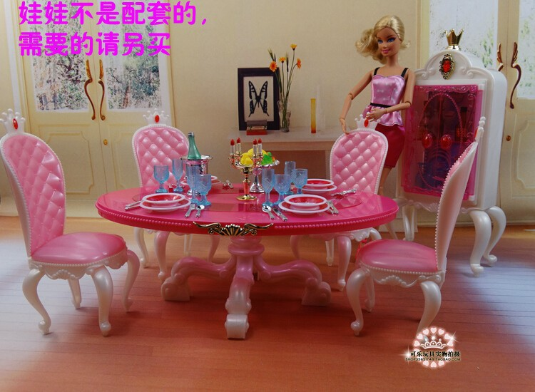 New arrival Christmas birthday present play home doll for youngsters dinner desk furnishings for barbie doll,women play home