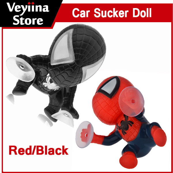 360-degree Rotating Cute 16cm Climbing Spiderman Sucker Doll Toy Auto Car Sticker Car Styling Decoration Gift Black/Red(China (Mainland))