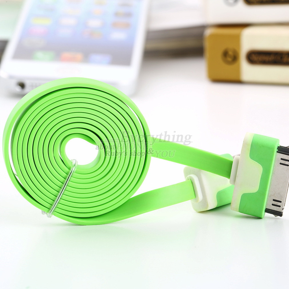 1m 3FT USB Charging Charger Sync Data Cable Cord for Apple for iPad 3 for iPhone 4 for 4s Green Brand New Hot Selling(China (Mainland))
