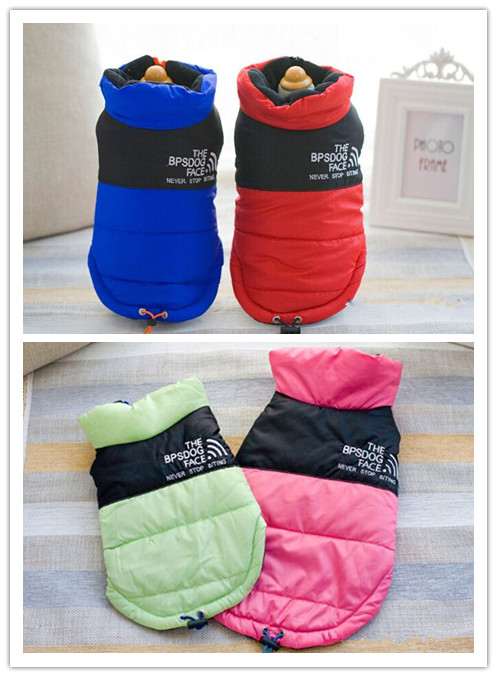 Free shipping pet dog cat solid color jacket winter warm vest cotton-padded jacket clothing clothes  four colors