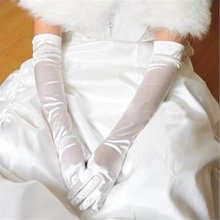 New Hot sexy Satin Ruched elegant Suede gloves accessories for Bride Bridesmaid gloves Fancy Dress Costume 3 colors