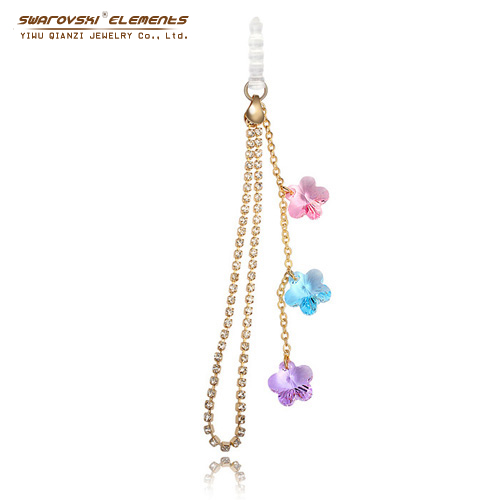 Dust Plug Crystal Cell Flower Mobile Phone Straps Chain Fashion Cell Accessorie Original Swarovski Elements Colorful 18K Gold(China (Mainland))