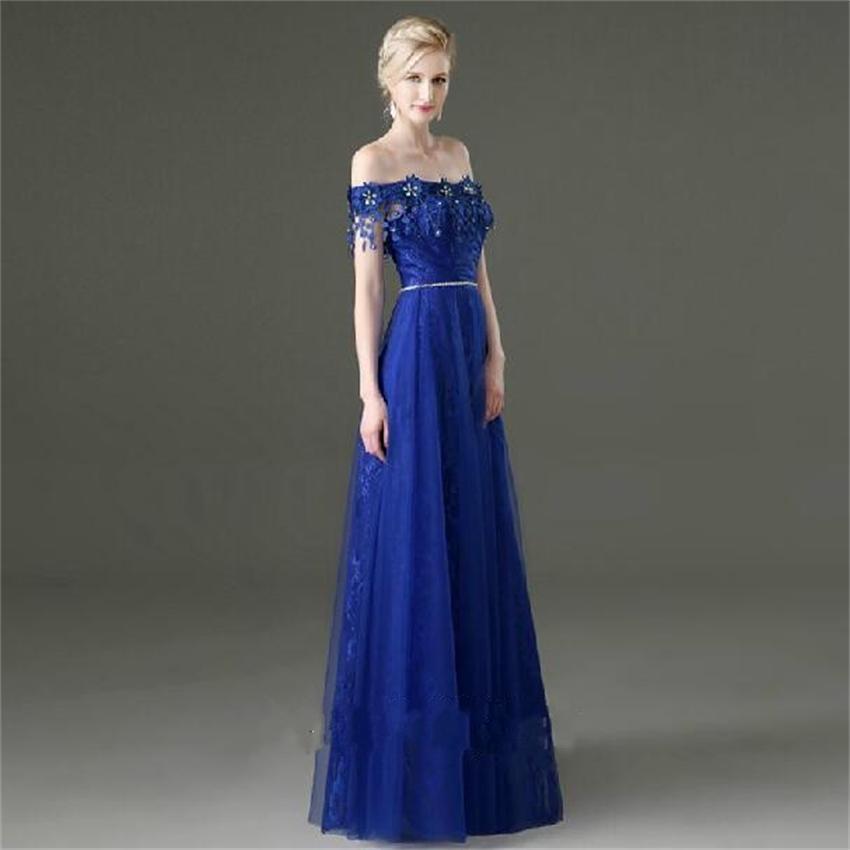 Royal blue off shoulder dress
