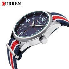 Curren 8195 deportes relojes de cuarzo mate dial relojes hombres Multicolor nylon correa reloj del reloj Relogio Masculino envío gratis