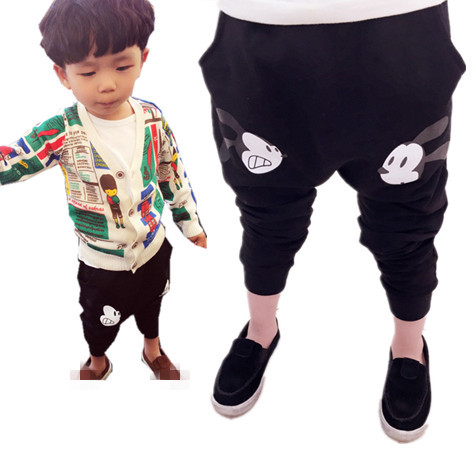 Free Shipping 2015 new design black gray casual boys girls pants baby kids cartoon harem pants children spring trousers clothes(China (Mainland))
