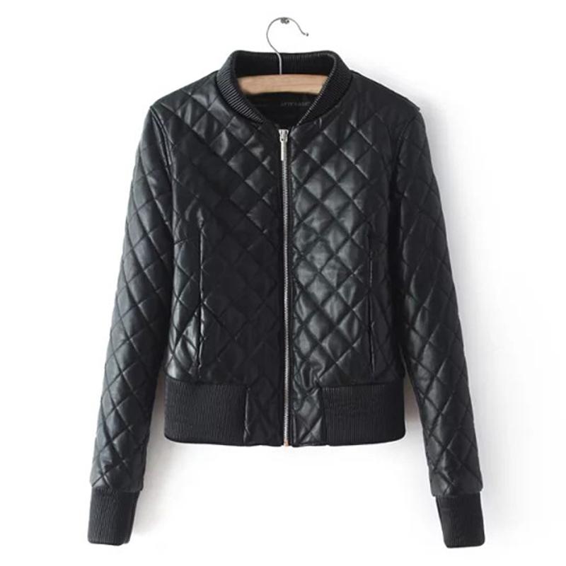 2016 Spring Women PU Leather Jackets Ling Plaid Solid Slim Cotton Padded Baseball Bomber Jacket Coat Chaquetas Mujer WWJ493(China (Mainland))