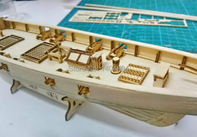 Laser-cut Wooden sailboat model kit: The Harvey 1847 western Sail boat & Free 1 set 36mm Brass cannon(China (Mainland))