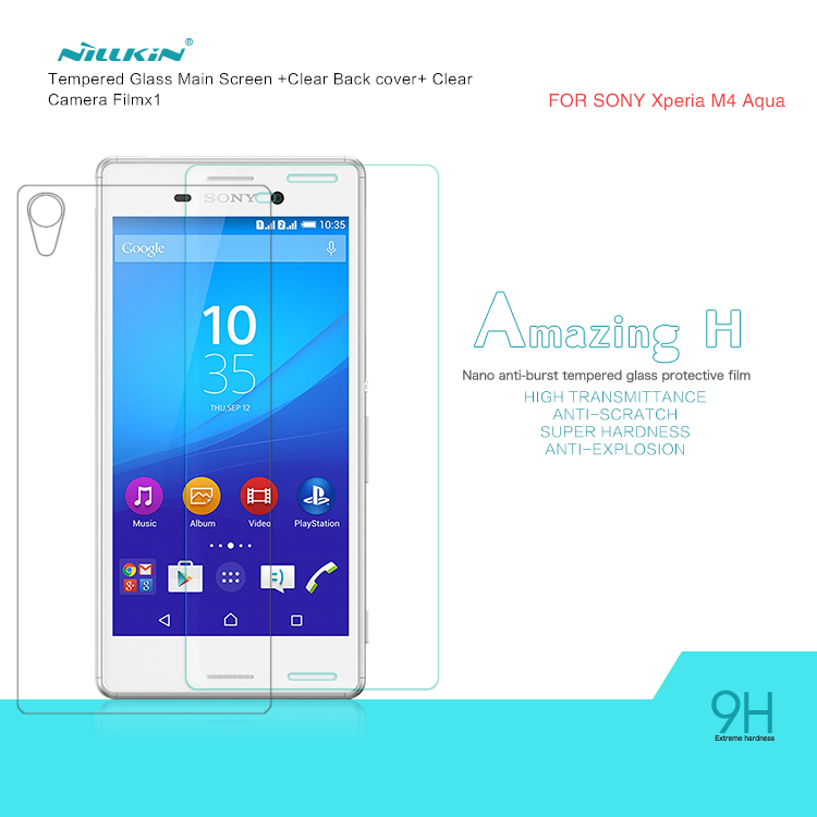 NILLKIN Amazing H Nanometer Anti-Explosion Tempered Glass Screen Protector For Sony Xperia M4 Aqua 9H glass protective Film(China (Mainland))