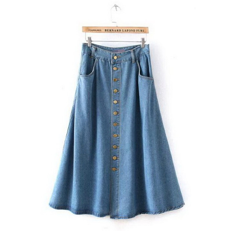 ankle length denim skirt blue jean high waisted