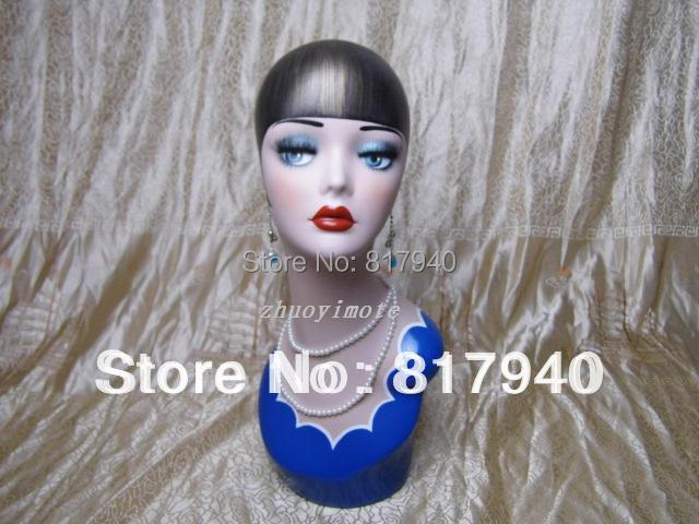 Promotion! High quality Fiberglass vintage female mannequin dummy head bust for earrings &wigs & hat & jewelry display(China (Mainland))