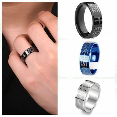 Free Shipping Classical Men Women Christian Cross Bible Ring Stainless Steel Wedding Gift Ring 2015 New Arrival Promotion(China (Mainland))