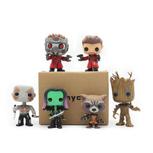 Buy Chanycore Funko pop Bobble Head Groot Star-Lord Rocket Drax Gamora Tree man Guardians Galaxy Anime Vinyl PVC model toy for $4.67 in AliExpress store