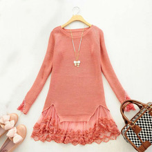 New 2015 Korean Style Autumn Winter Lace Knitwear Long-sleeved Pullovers Long Sweater For Women ZLY029(China (Mainland))