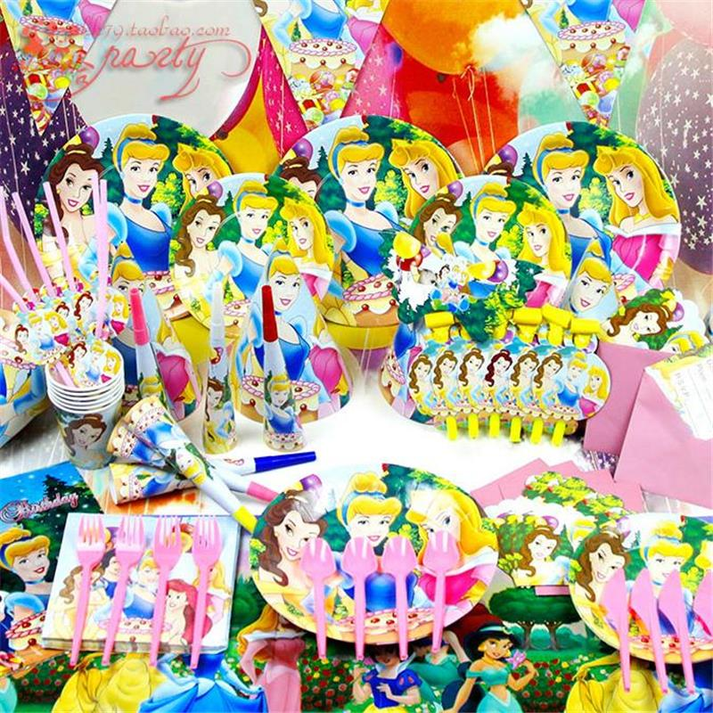 2015 New 90pcs Luxury Kids Birthday Party Decoration Set Princess Decoration Theme Party Supplies Baby Birthday Party Pack(China (Mainland))