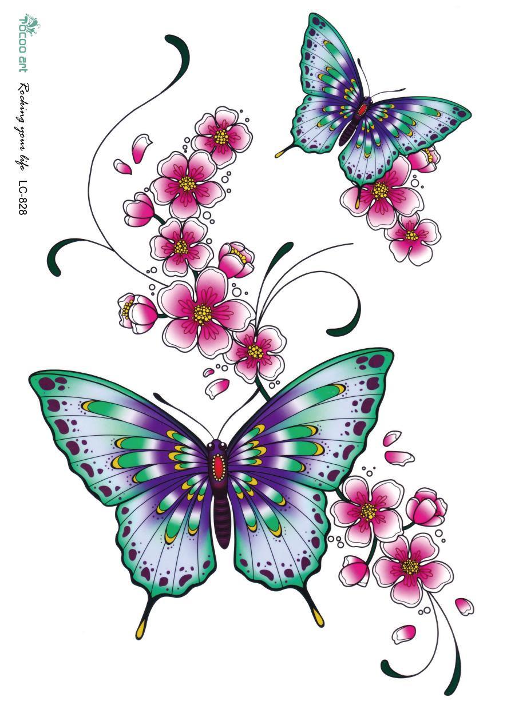 Acheter lc2828 21 18 cm autocollant de - Papillon dessin couleur ...