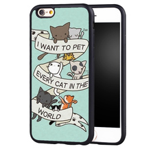 Cute Kitty Cat Quote Printed Soft Rubber Mobile Phone Cases Accessories For iPhone 6 6S Plus SE 5 5S 5C 4 4S Back Shell Cover
