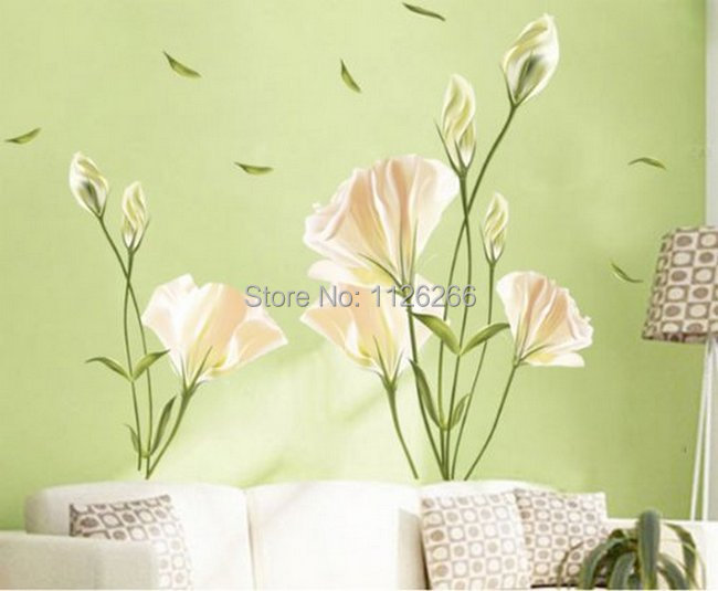large flower wall stickers home decor peel and stick. Black Bedroom Furniture Sets. Home Design Ideas