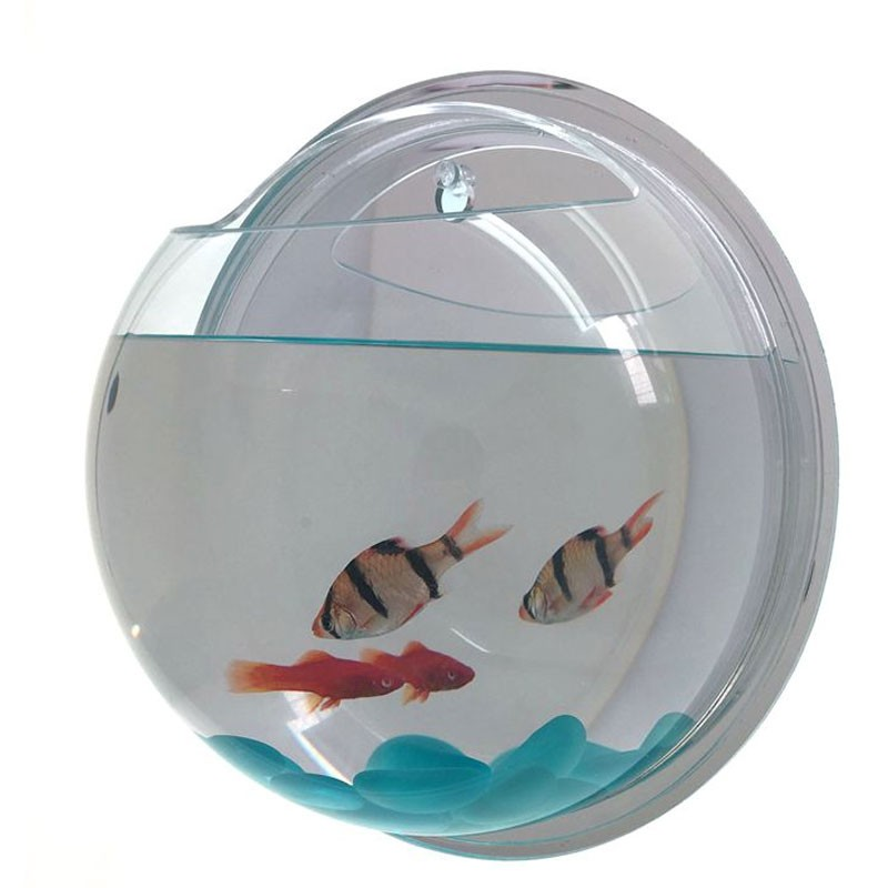 Home deco wall mounted hanging fish bowl aquarium tank for for Wall mount fish bowl