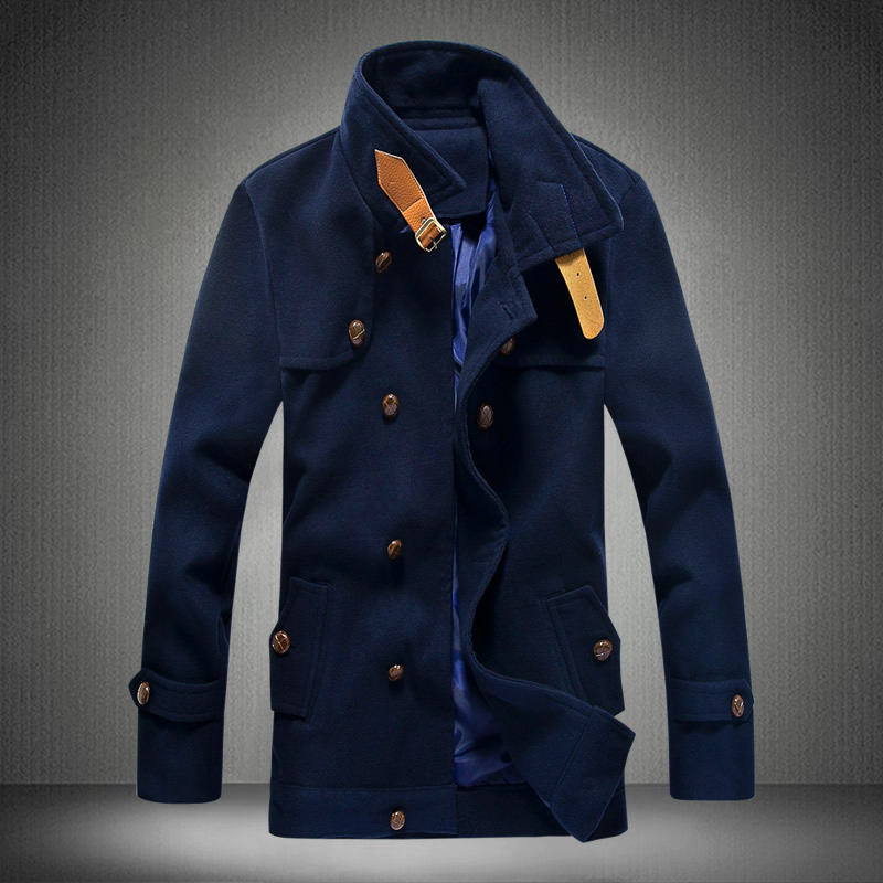 Popular Leather Navy Pea Coat-Buy Cheap Leather Navy Pea Coat lots ...