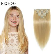Double Wefted Clip In Human Hair Extensions Malaysian Hair Clip Ins Straight Remy Blonde Human Hair Extensions Clip In 200G(China (Mainland))