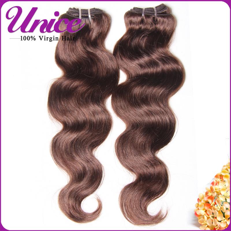 Peruvian Virgin Hair Body Wave Color #4 Light Brown Human Hair, Cheap Puruvian Hair Bundles Wet and Wavy Hair Peruvian Body Wave(China (Mainland))