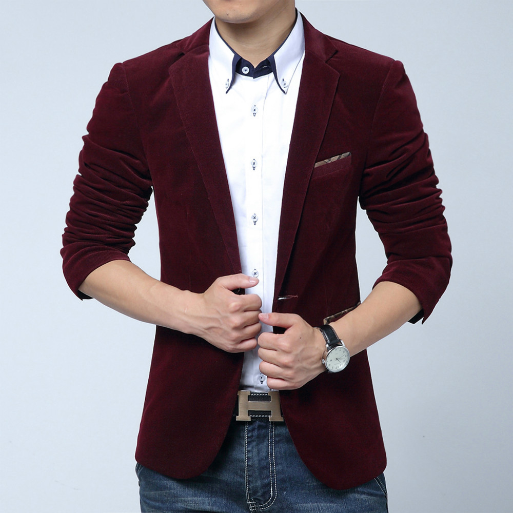 Hot sale 2015 Men slim fit casual corduroy blazers Man royal blue/red/black suit Masculino fashion party office costume M~XXXXL(China (Mainland))
