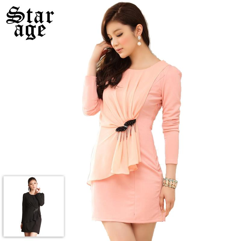 Big Size Long sleeve Dresses With Ruffles Tassel Office Ladies Dress Fashion Spring Dress Plus Size Women Clothes Pink/Black 707(China (Mainland))
